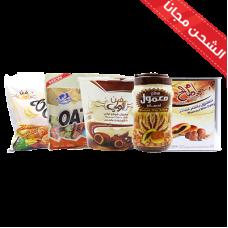 large oatmeal (milk + chocolate) +  lolli chocolate Bartman + Tnk Mamlol Um Saleh + Mamlul Umm Saleh 700 grams