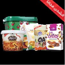 Large oats (milk + chocolate) + Mamlou large mum pail + Mamlul Um Saleh Pail 700 grams + moleful Loli Bates